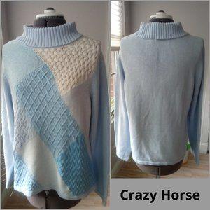 Crazy Horse Textured Sampler Turtleneck Sweater